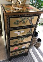 Chinese Handmade Black Lacquer with Mother of Pearl 5 Drw Chest