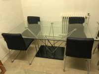 Spider Glass Top Table & 4 Hot Chairs