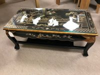 Chinese Handmade Black Lacquer with Mother of Pearl Coffee Table