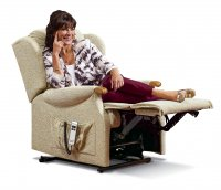 Lynton Small 2-motor Electric Lift Recliner - Dark Beech Knuckles