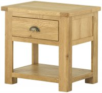 Portland Lamp Table with Drawer - oak