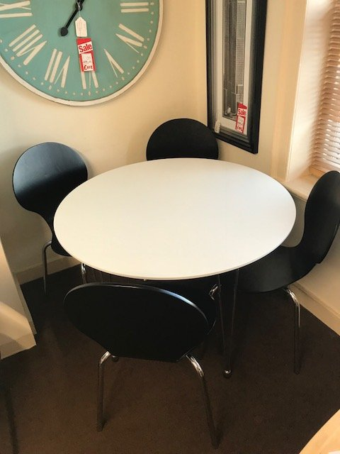 Lene Dining Table & 4 Black Chairs