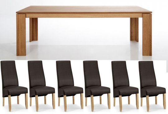 Mayfair Dining Table & 6 Padded Brown Chairs