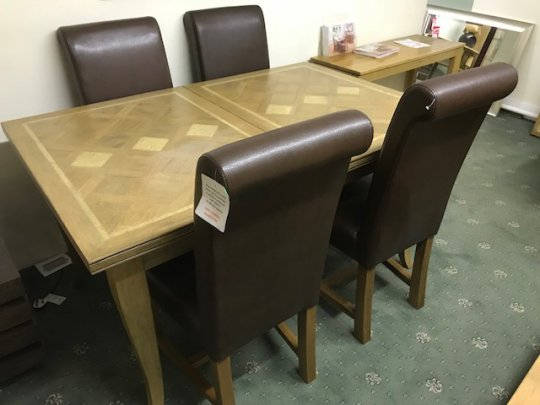 Antigua Extending Dining Table & 4 Roll Back Chairs