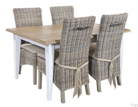 Rowico Dining Table & 4 Rattan Chairs