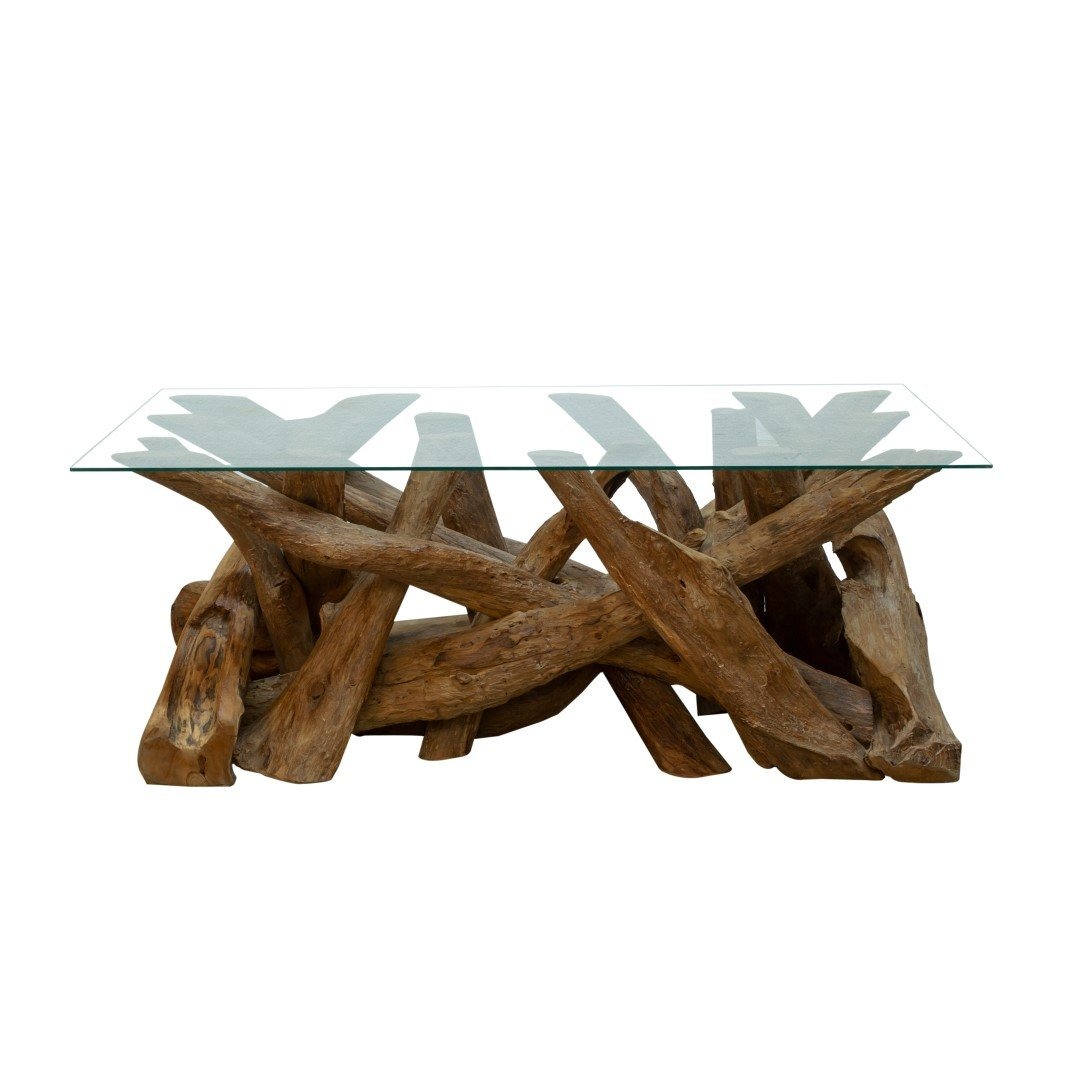 Natural Teak Root Rectangular Coffee Table With Glass Top