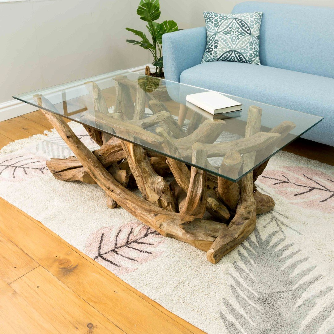 Natural Teak Root rectangular Coffee Table with glass top ...