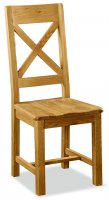 Clumber Cross Back Chair with Wooden Seat