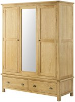 Portland Triple Wardrobe - oak