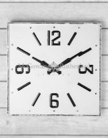 Large Square White & Black Antique Wall Clock