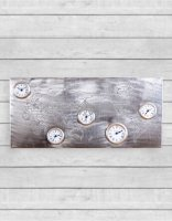 Large Pewter World Map Multi Dial Wall Clock