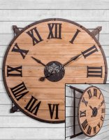 Extra Large Iron Frame And Wood  Wall Clock