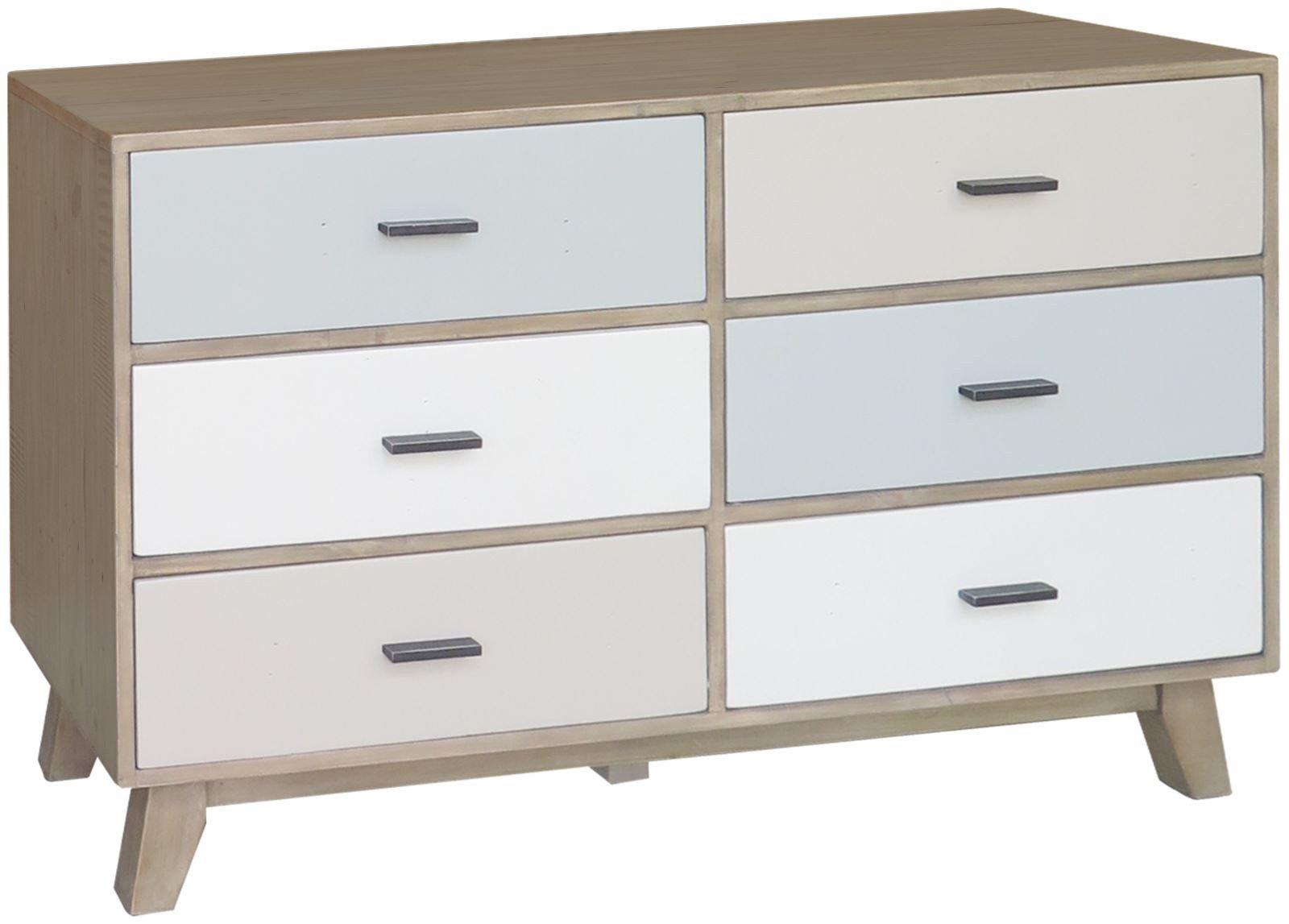 Benoist Reclaimed Wood Vanity Mirror: Sorrento Reclaimed 6 Drawer Wide Chest