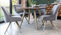 BOXER 120CM ROUND DINING TABLE & 4 AMY CHAIRS (SET)
