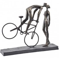 Antique Bronze Kissing Couple On A Bike