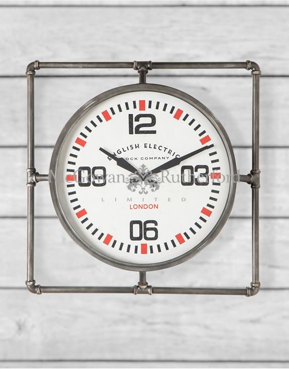 Large Square Pipe Frame Industrial Wall Clock Eyres